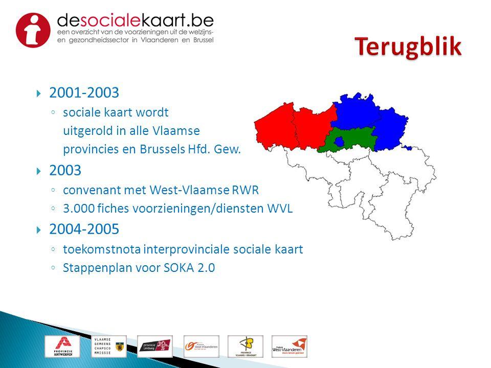  2001-2003 ◦ sociale kaart wordt uitgerold in alle Vlaamse provincies en Brussels Hfd. Gew.  2003 ◦ convenant met West-Vlaamse RWR ◦ 3.000 fiches vo