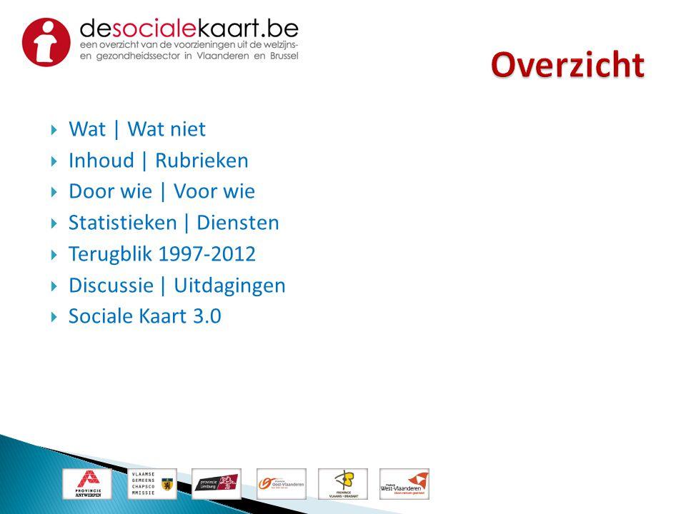  Wat | Wat niet  Inhoud | Rubrieken  Door wie | Voor wie  Statistieken | Diensten  Terugblik 1997-2012  Discussie | Uitdagingen  Sociale Kaart