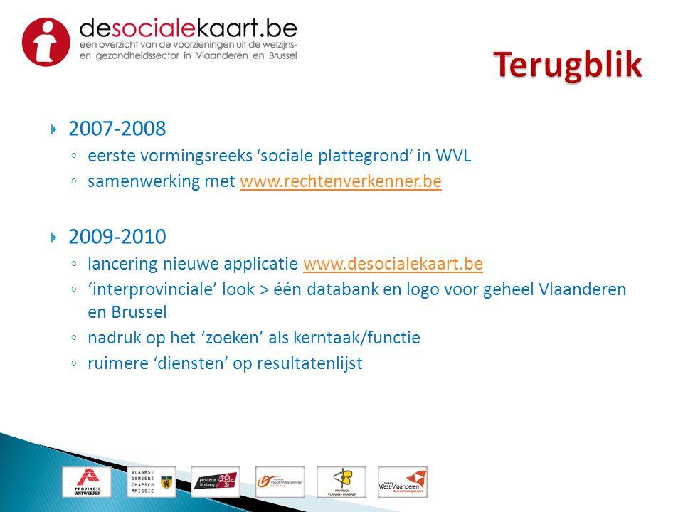  2007-2008 ◦ eerste vormingsreeks 'sociale plattegrond' in WVL ◦ samenwerking met www.rechtenverkenner.bewww.rechtenverkenner.be  2009-2010 ◦ lancer