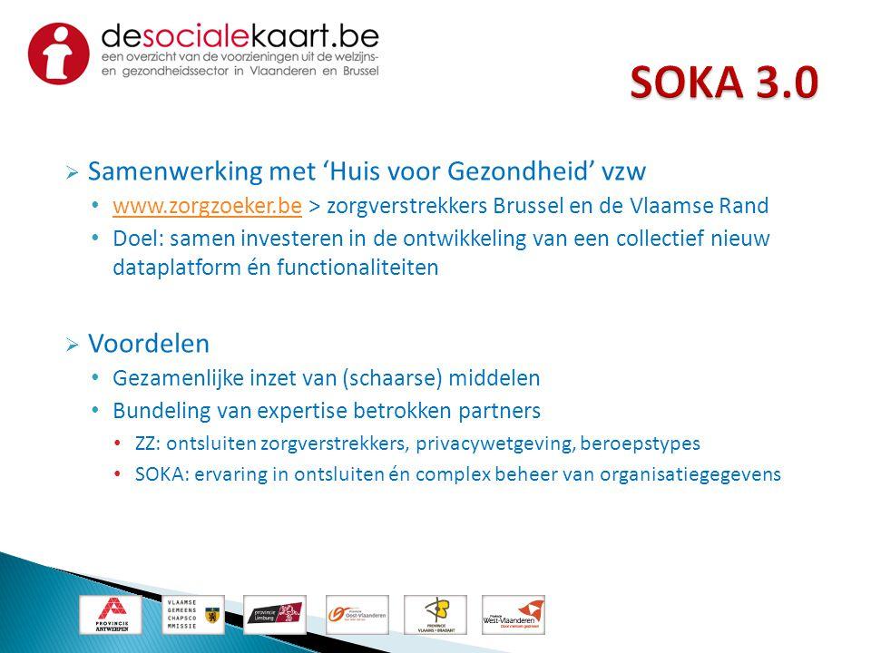  Samenwerking met 'Huis voor Gezondheid' vzw • www.zorgzoeker.be > zorgverstrekkers Brussel en de Vlaamse Rand www.zorgzoeker.be • Doel: samen invest