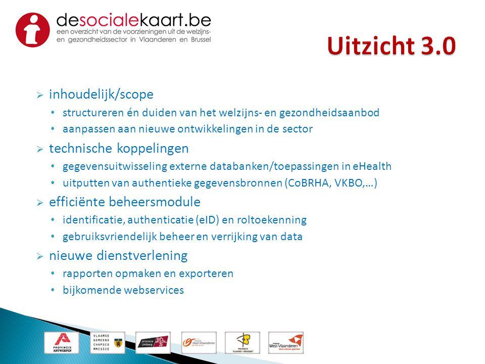  inhoudelijk/scope • structureren én duiden van het welzijns- en gezondheidsaanbod • aanpassen aan nieuwe ontwikkelingen in de sector  technische ko