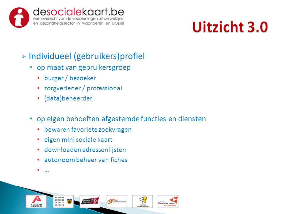  Individueel (gebruikers)profiel • op maat van gebruikersgroep • burger / bezoeker • zorgverlener / professional • (data)beheerder • op eigen behoeft