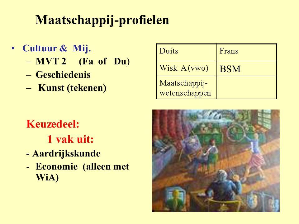 Maatschappij-profielen •Cultuur & Mij. –MVT 2 (Fa of Du) –Geschiedenis – Kunst (tekenen) Keuzedeel: 1 vak uit: - Aardrijkskunde -Economie (alleen met