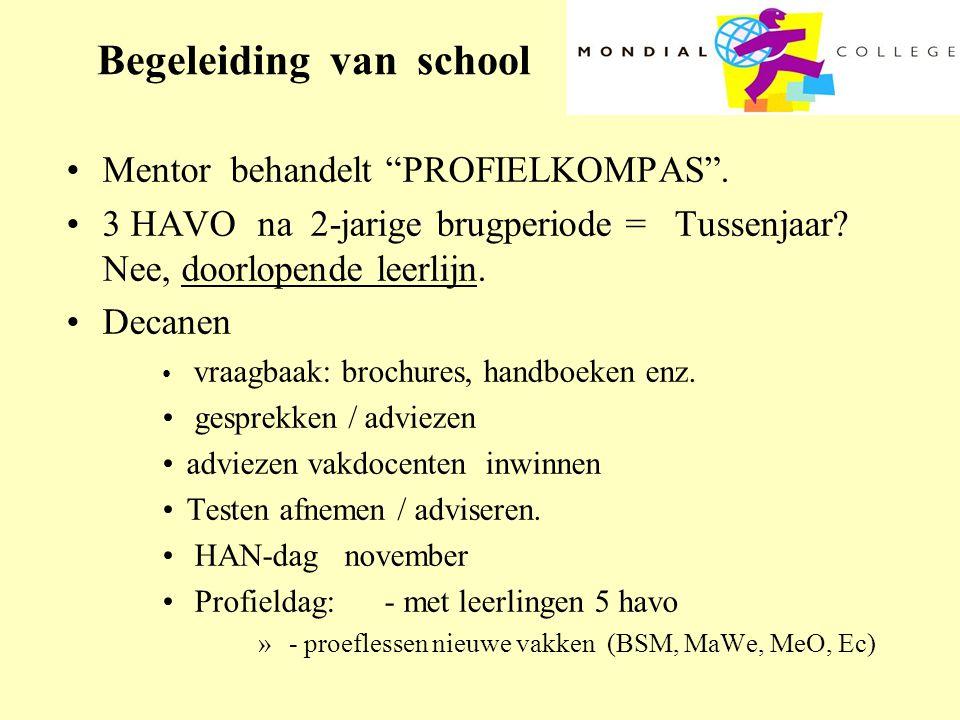 """Begeleiding van school •Mentor behandelt """"PROFIELKOMPAS"""". •3 HAVO na 2-jarige brugperiode = Tussenjaar? Nee, doorlopende leerlijn. •Decanen • vraagbaa"""