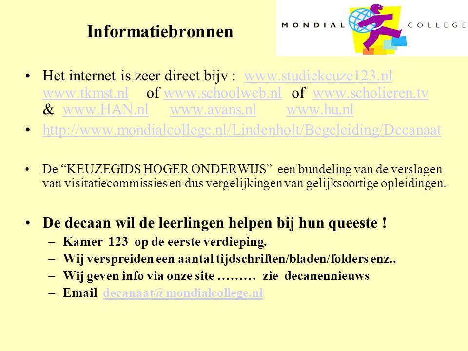 Informatiebronnen •Het internet is zeer direct bijv : www.studiekeuze123.nl www.tkmst.nl of www.schoolweb.nl of www.scholieren.tv & www.HAN.nl www.ava