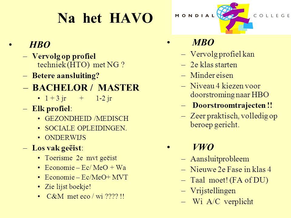 Na het HAVO • HBO –Vervolg op profiel techniek (HTO) met NG ? –Betere aansluiting? –BACHELOR / MASTER •1 + 3 jr +1-2 jr –Elk profiel: •GEZONDHEID /MED