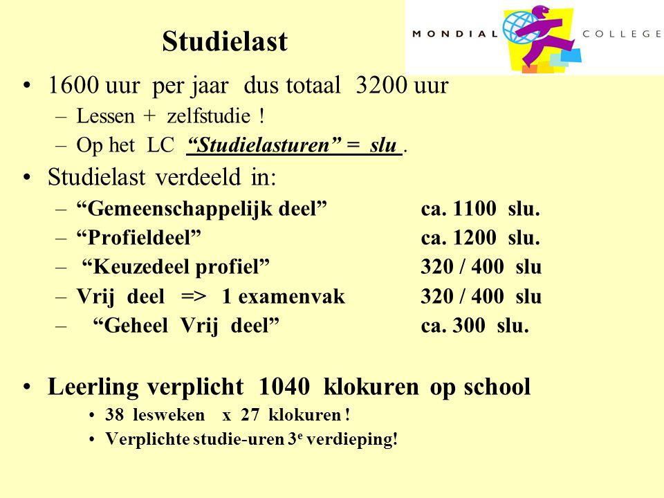 """Studielast •1600 uur per jaar dus totaal 3200 uur –Lessen + zelfstudie ! –Op het LC """"Studielasturen"""" = slu. •Studielast verdeeld in: –""""Gemeenschappeli"""
