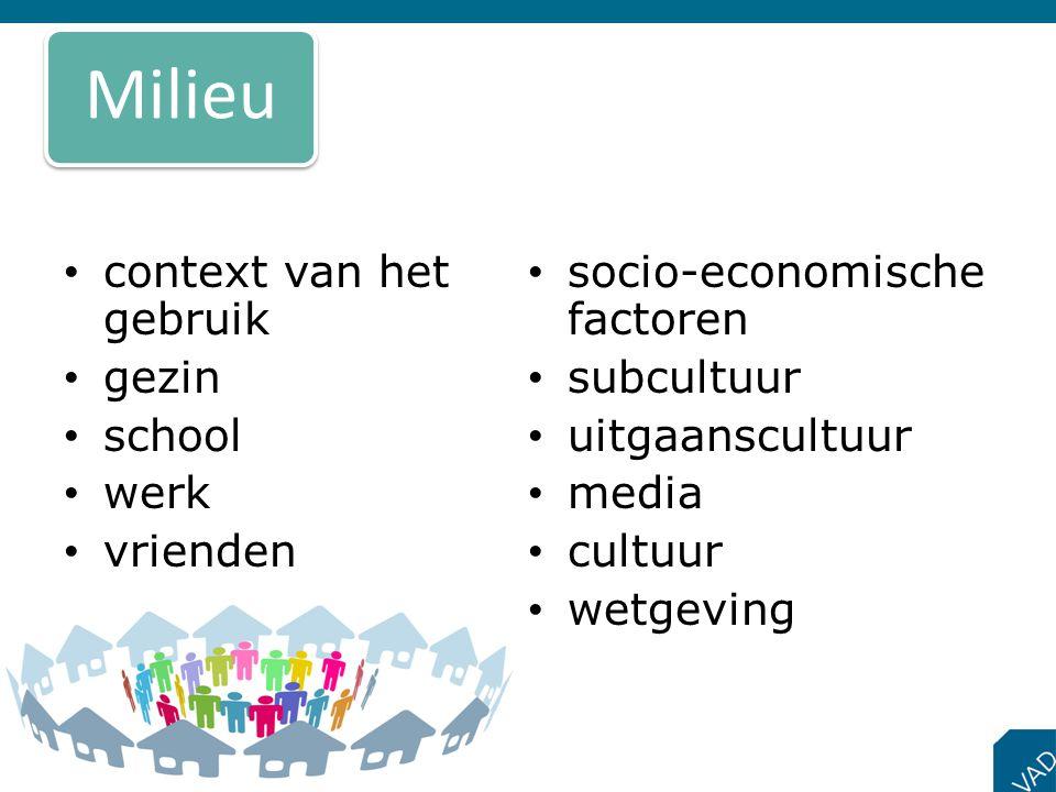 • context van het gebruik • gezin • school • werk • vrienden • socio-economische factoren • subcultuur • uitgaanscultuur • media • cultuur • wetgeving