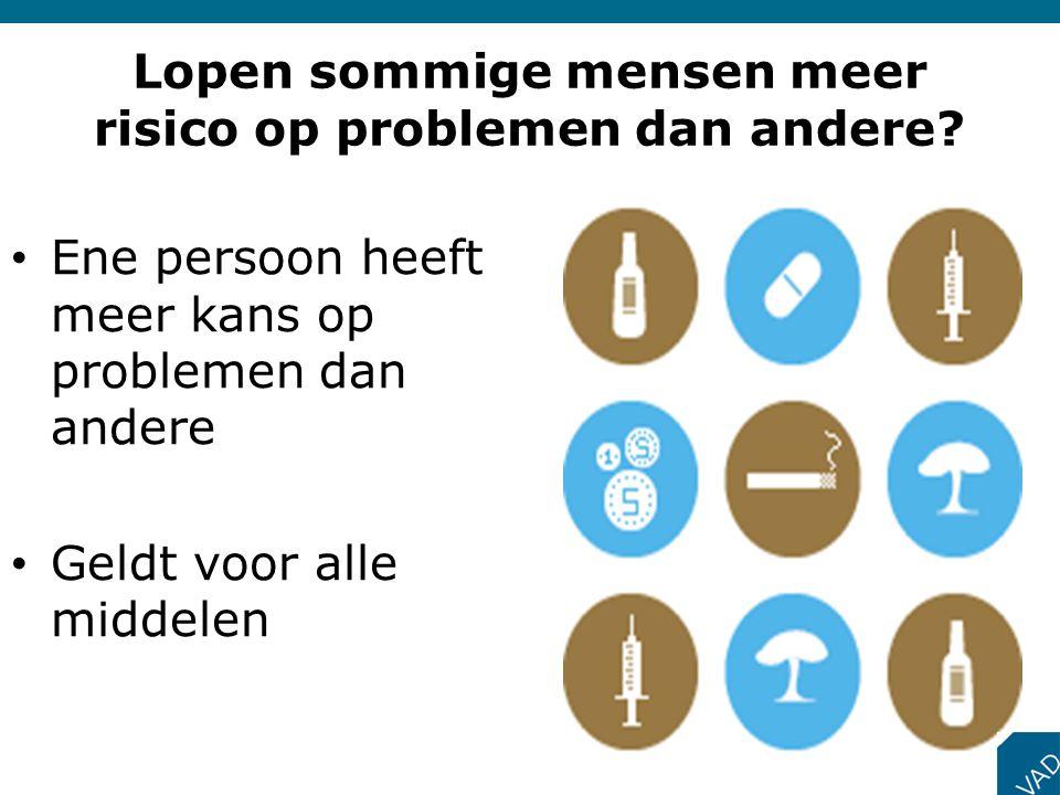 • Ene persoon heeft meer kans op problemen dan andere • Geldt voor alle middelen Lopen sommige mensen meer risico op problemen dan andere?
