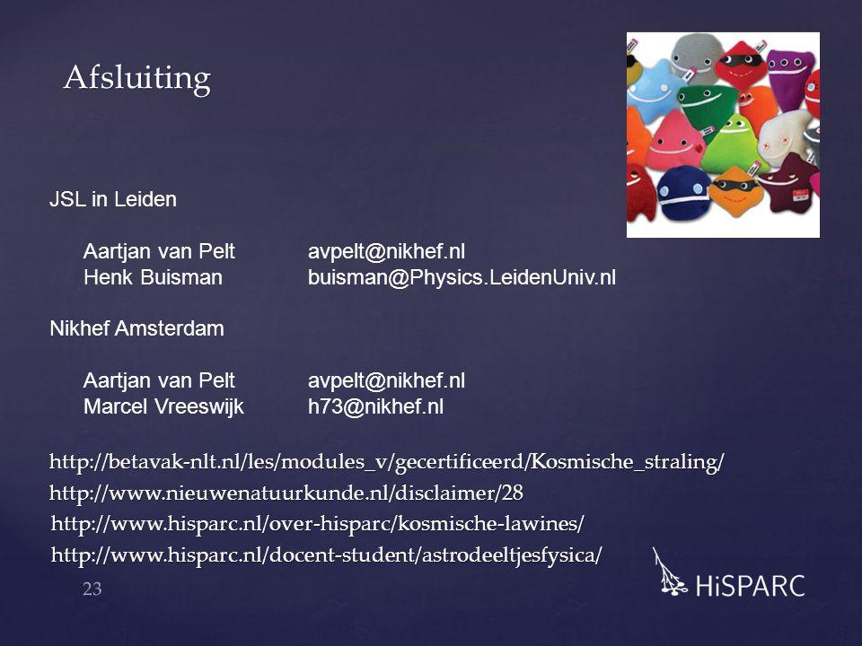 Afsluiting 23 http://betavak-nlt.nl/les/modules_v/gecertificeerd/Kosmische_straling/http://www.nieuwenatuurkunde.nl/disclaimer/28http://www.hisparc.nl