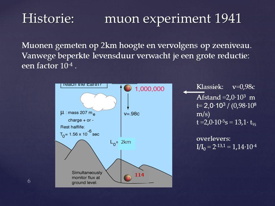 Muonen gemeten op 2km hoogte en vervolgens op zeeniveau. Vanwege beperkte levensduur verwacht je een grote reductie: een factor een factor 10 -4. Hist