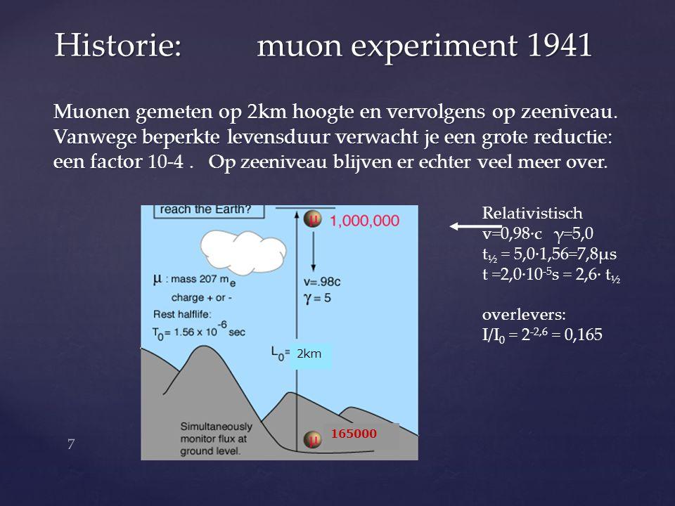 Muonen gemeten op 2km hoogte en vervolgens op zeeniveau. Vanwege beperkte levensduur verwacht je een grote reductie: een factor een factor 10-4. Op ze