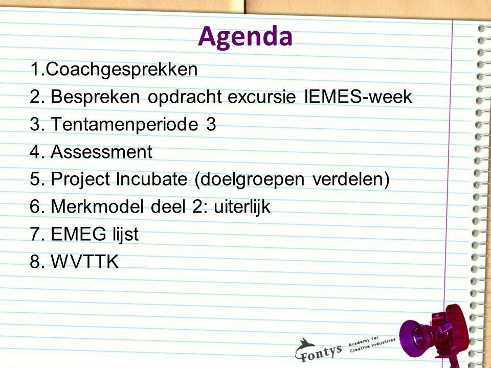 Agenda 1.Coachgesprekken 2. Bespreken opdracht excursie IEMES-week 3. Tentamenperiode 3 4. Assessment 5. Project Incubate (doelgroepen verdelen) 6. Me