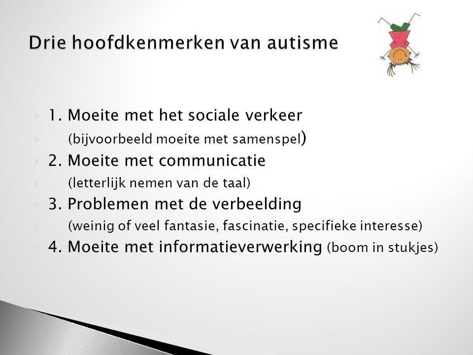  1. Moeite met het sociale verkeer  (bijvoorbeeld moeite met samenspel )  2. Moeite met communicatie  (letterlijk nemen van de taal)  3. Probleme