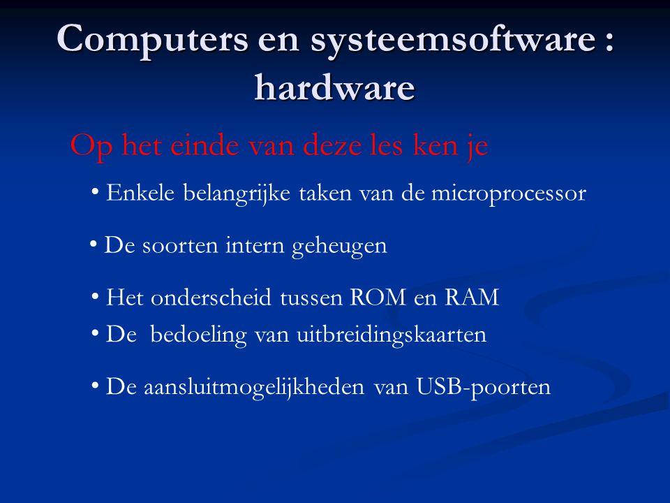 Computers en systeemsoftware : hardware Op het einde van deze les ken je • Enkele belangrijke taken van de microprocessor • De soorten intern geheugen