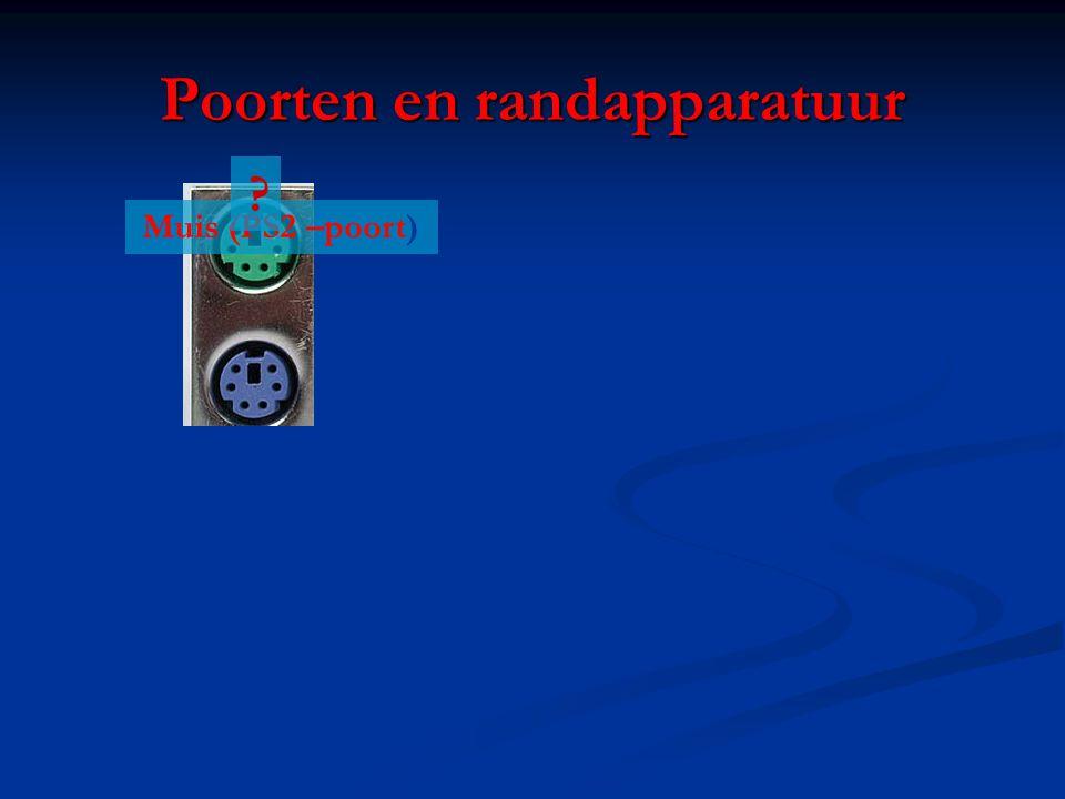 Poorten en randapparatuur Muis (PS2 –poort) ?