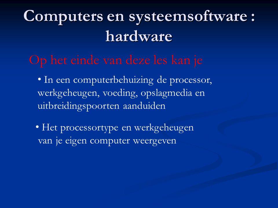 Computers en systeemsoftware : hardware Op het einde van deze les kan je • In een computerbehuizing de processor, werkgeheugen, voeding, opslagmedia e