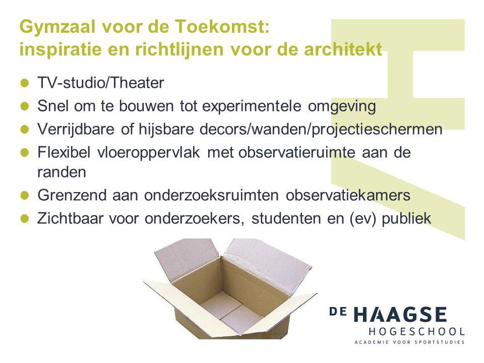 Gymzaal voor de Toekomst: inspiratie en richtlijnen voor de architekt  TV-studio/Theater  Snel om te bouwen tot experimentele omgeving  Verrijdbare