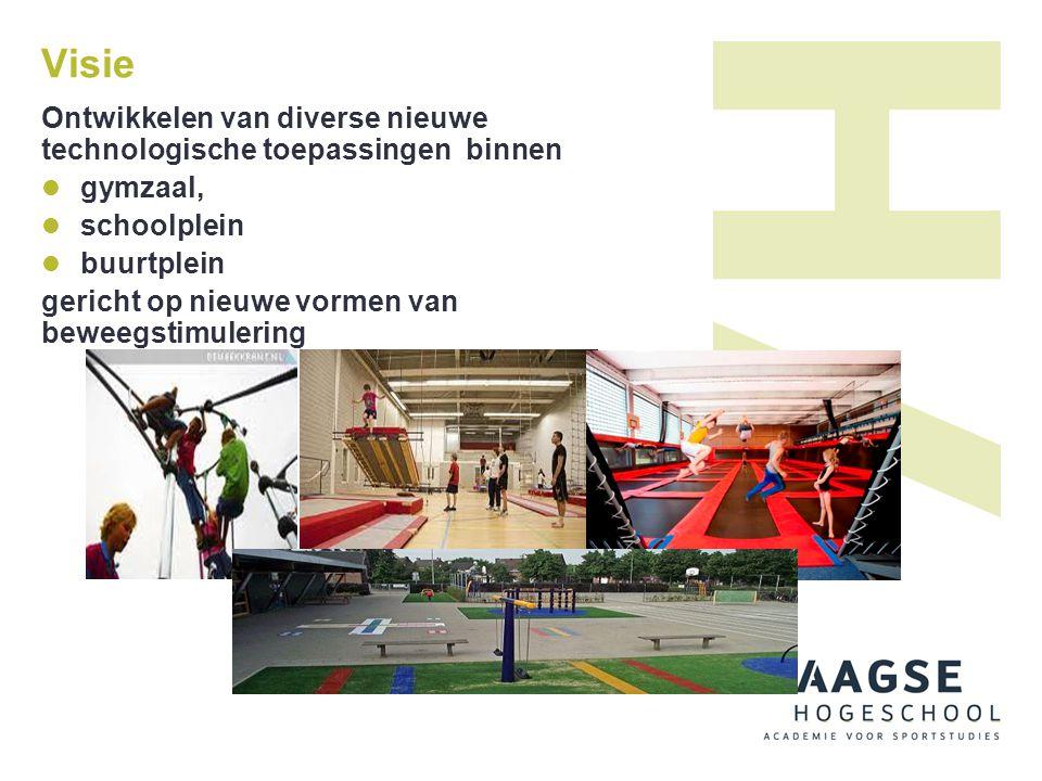 Visie Ontwikkelen van diverse nieuwe technologische toepassingen binnen  gymzaal,  schoolplein  buurtplein gericht op nieuwe vormen van beweegstimu