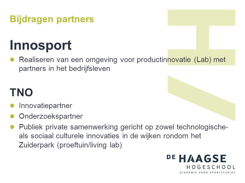 Bijdragen partners Innosport  Realiseren van een omgeving voor productinnovatie (Lab) met partners in het bedrijfsleven TNO  Innovatiepartner  Onde