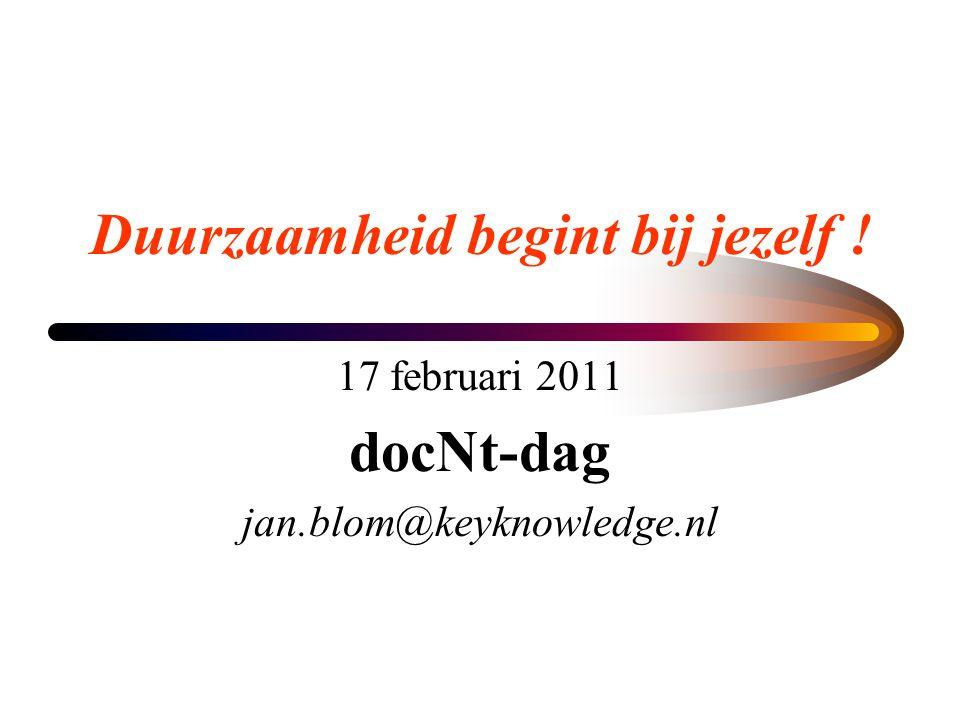 Duurzaamheid begint bij jezelf ! 17 februari 2011 docNt-dag jan.blom@keyknowledge.nl