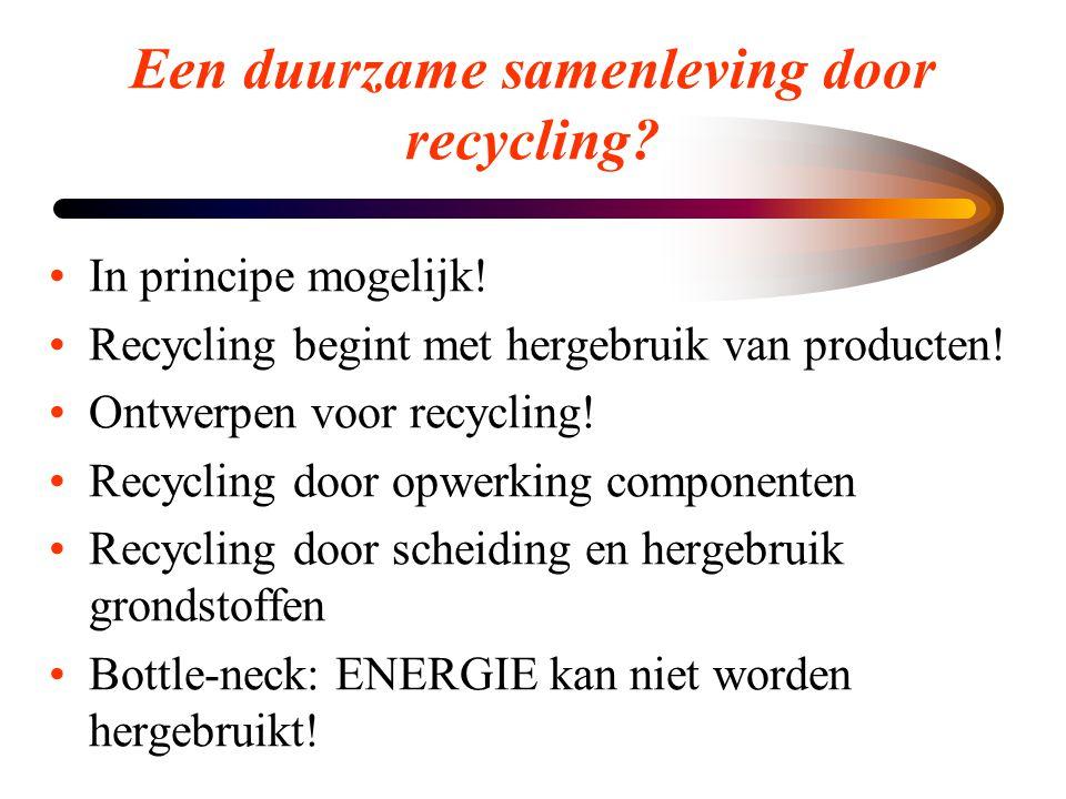 Een duurzame samenleving door recycling? •In principe mogelijk! •Recycling begint met hergebruik van producten! •Ontwerpen voor recycling! •Recycling