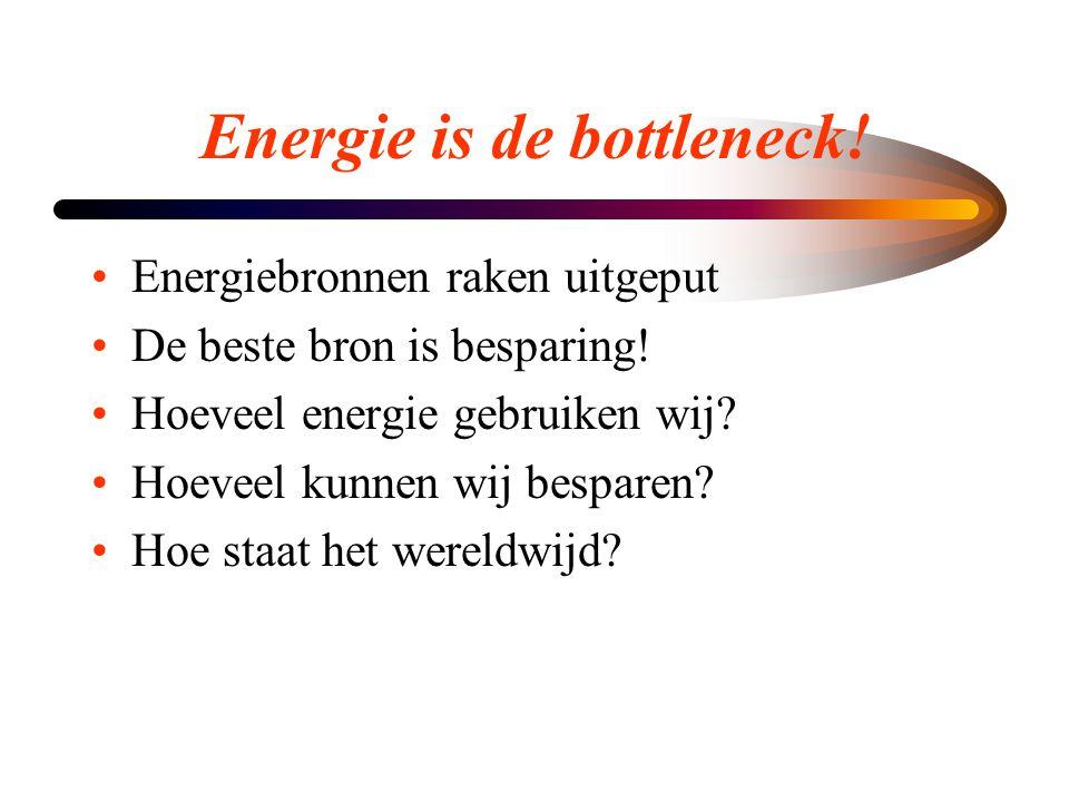 Energie is de bottleneck! •Energiebronnen raken uitgeput •De beste bron is besparing! •Hoeveel energie gebruiken wij? •Hoeveel kunnen wij besparen? •H