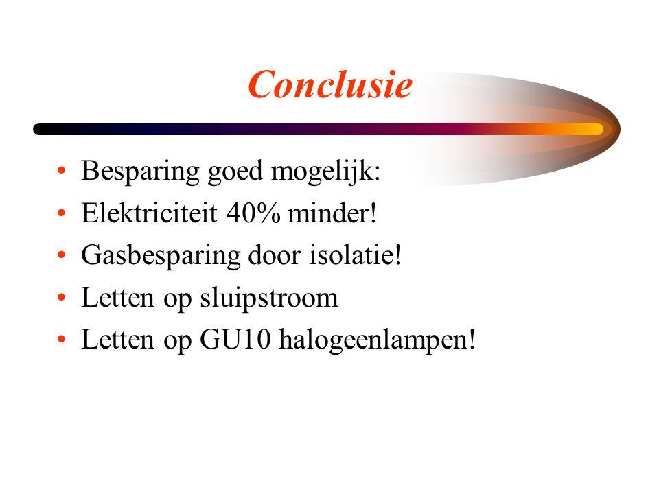 Conclusie •Besparing goed mogelijk: •Elektriciteit 40% minder! •Gasbesparing door isolatie! •Letten op sluipstroom •Letten op GU10 halogeenlampen!