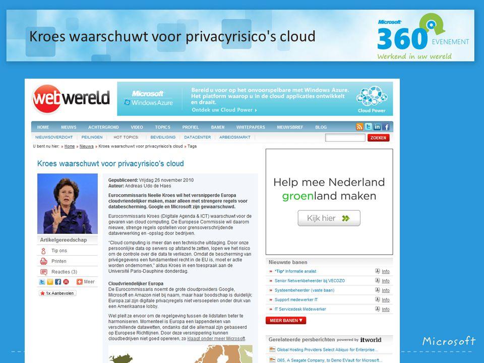 Kroes waarschuwt voor privacyrisico's cloud