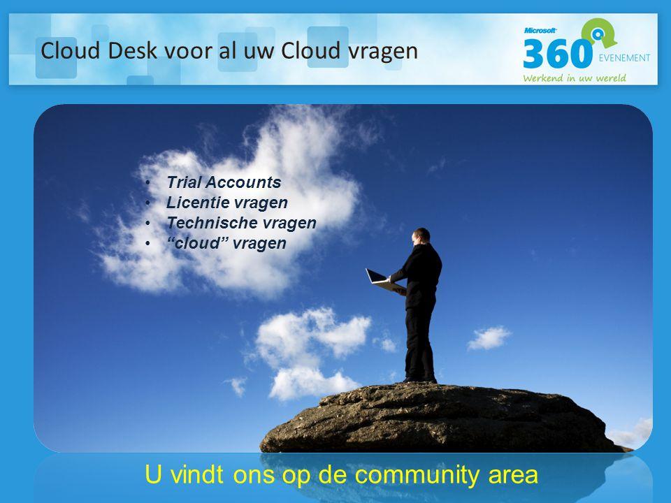"""Cloud Desk voor al uw Cloud vragen U vindt ons op de community area •Trial Accounts •Licentie vragen •Technische vragen •""""cloud"""" vragen"""