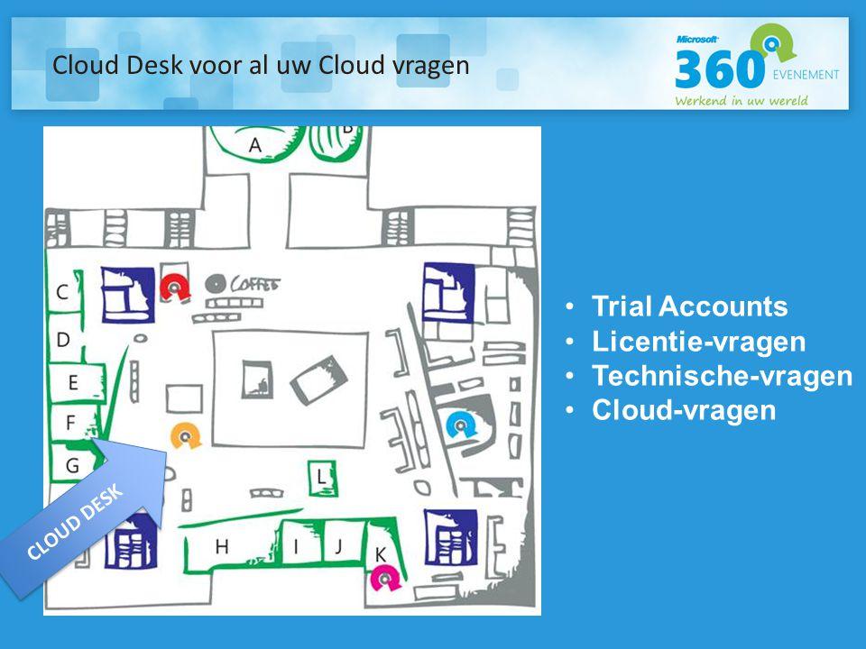 Cloud Desk voor al uw Cloud vragen •Trial Accounts •Licentie-vragen •Technische-vragen •Cloud-vragen CLOUD DESK