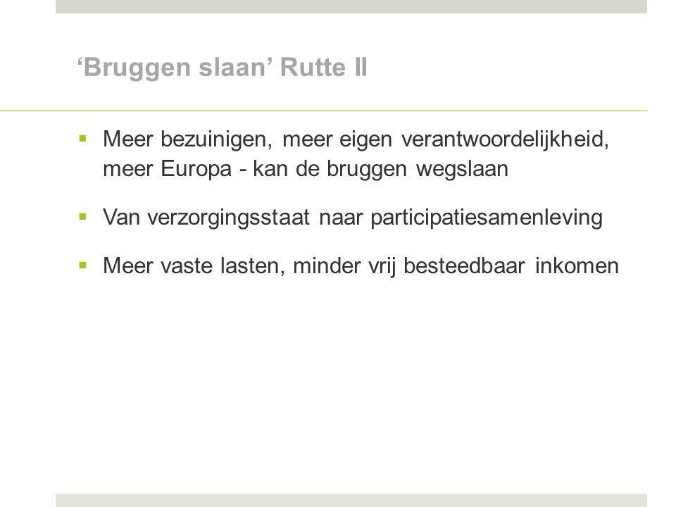 'Bruggen slaan' Rutte II  Meer bezuinigen, meer eigen verantwoordelijkheid, meer Europa - kan de bruggen wegslaan  Van verzorgingsstaat naar participatiesamenleving  Meer vaste lasten, minder vrij besteedbaar inkomen