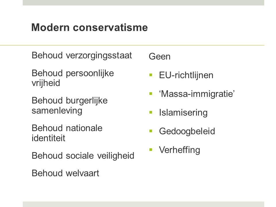 Modern conservatisme Behoud verzorgingsstaat Behoud persoonlijke vrijheid Behoud burgerlijke samenleving Behoud nationale identiteit Behoud sociale veiligheid Behoud welvaart Geen  EU-richtlijnen  'Massa-immigratie'  Islamisering  Gedoogbeleid  Verheffing
