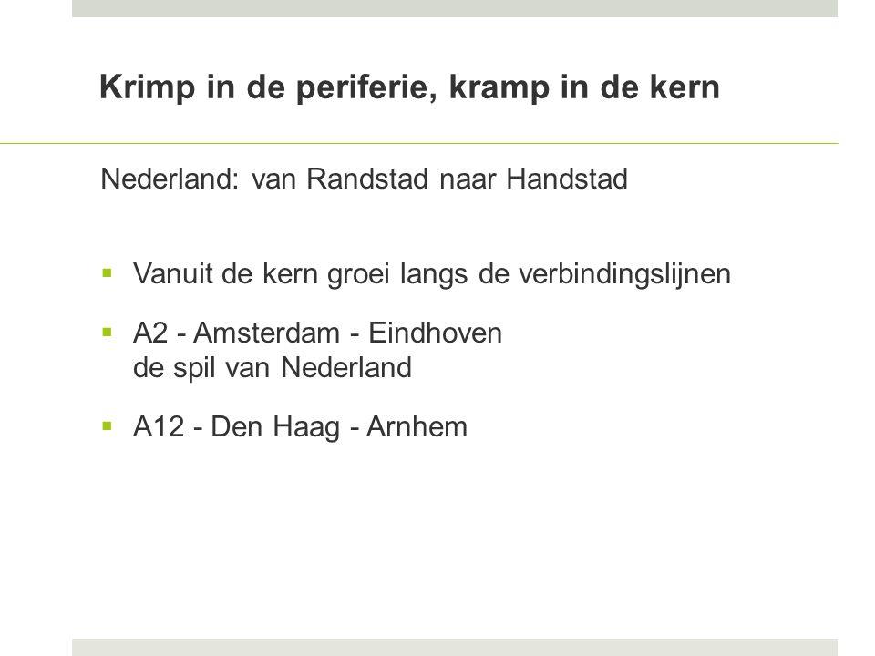 Krimp in de periferie, kramp in de kern Nederland: van Randstad naar Handstad  Vanuit de kern groei langs de verbindingslijnen  A2 - Amsterdam - Eindhoven de spil van Nederland  A12 - Den Haag - Arnhem