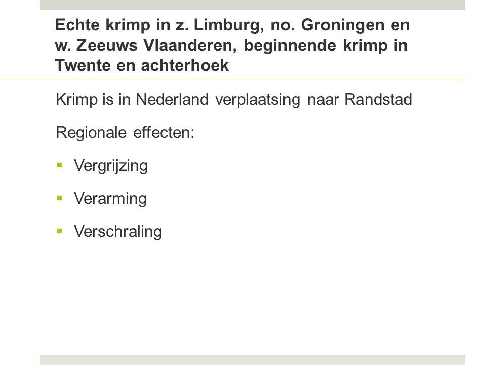 Echte krimp in z. Limburg, no. Groningen en w.