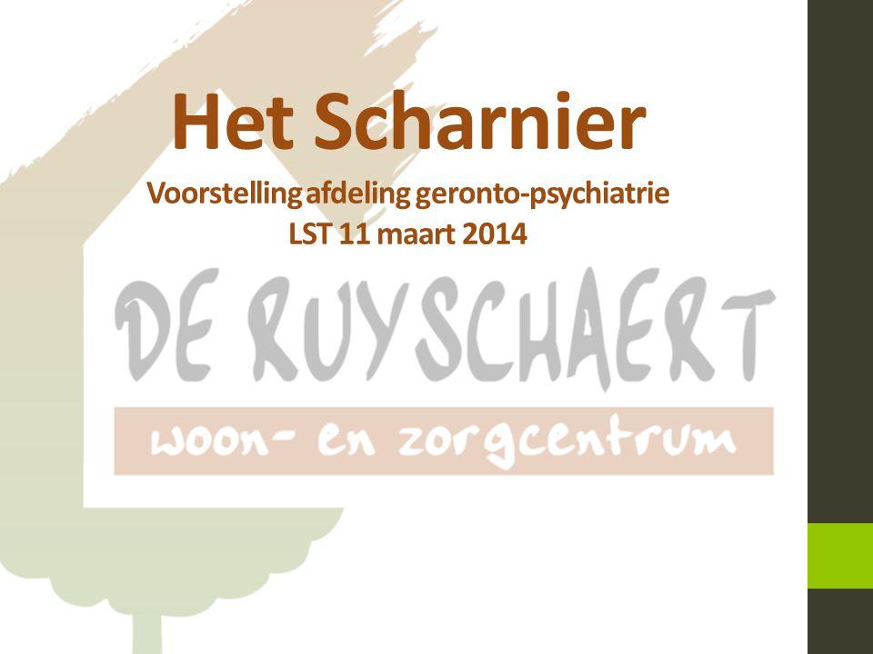 Het Scharnier Begin 2010: Vaststelling 18-09-2013 Info-avond Scharnier 1  Bewoners met psychische kwetsbaarheid verspreid over verschillende afdelingen in WZC  Nood aan specifieke aanpak  Nood aan specifiek opgeleid personeel