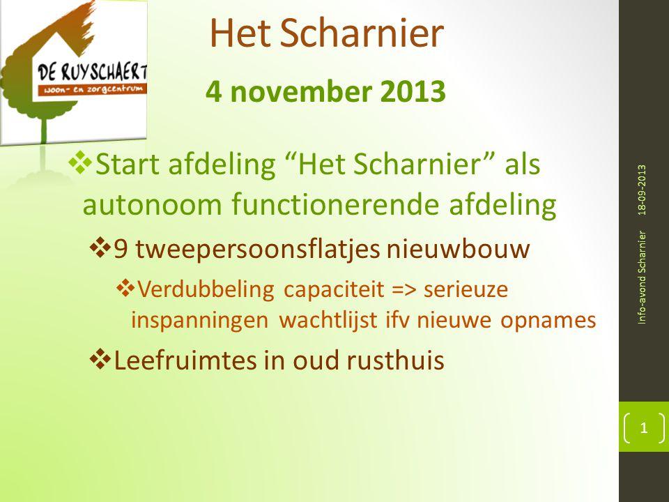 """Het Scharnier 4 november 2013 18-09-2013 Info-avond Scharnier 1  Start afdeling """"Het Scharnier"""" als autonoom functionerende afdeling  9 tweepersoons"""