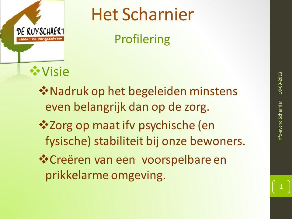 Het Scharnier Profilering 18-09-2013 Info-avond Scharnier 1  Visie  Nadruk op het begeleiden minstens even belangrijk dan op de zorg.  Zorg op maat