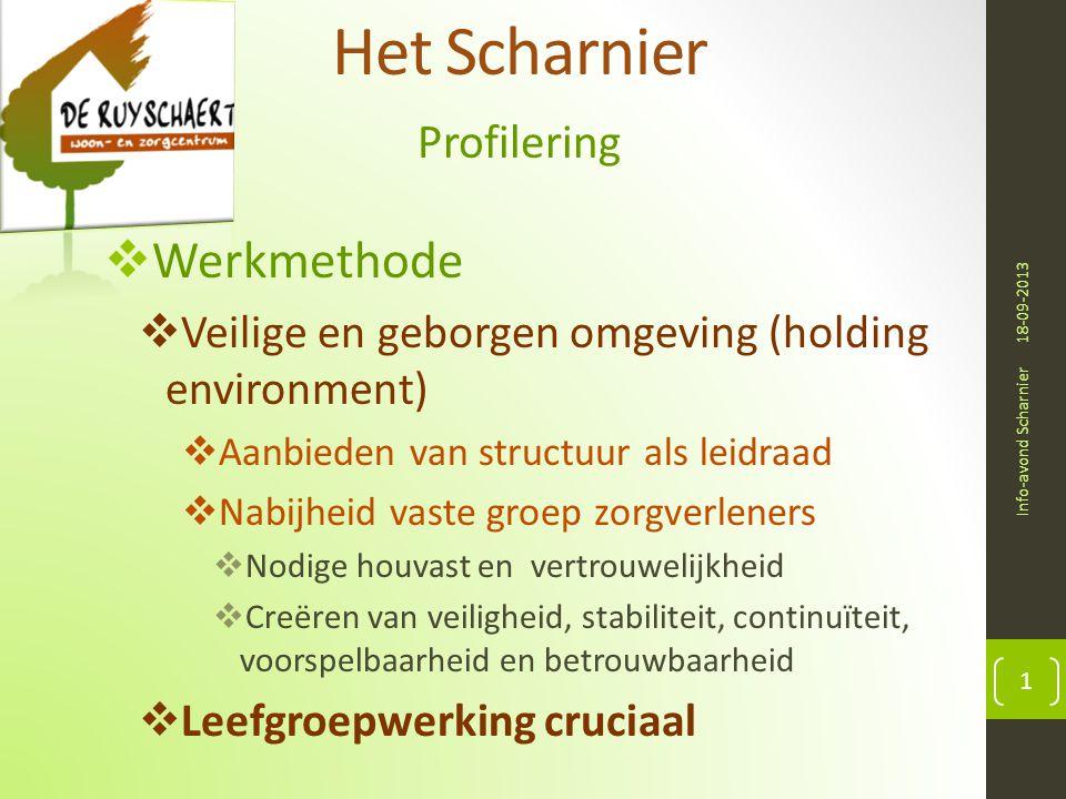 Het Scharnier Profilering 18-09-2013 Info-avond Scharnier 1  Werkmethode  Veilige en geborgen omgeving (holding environment)  Aanbieden van structu