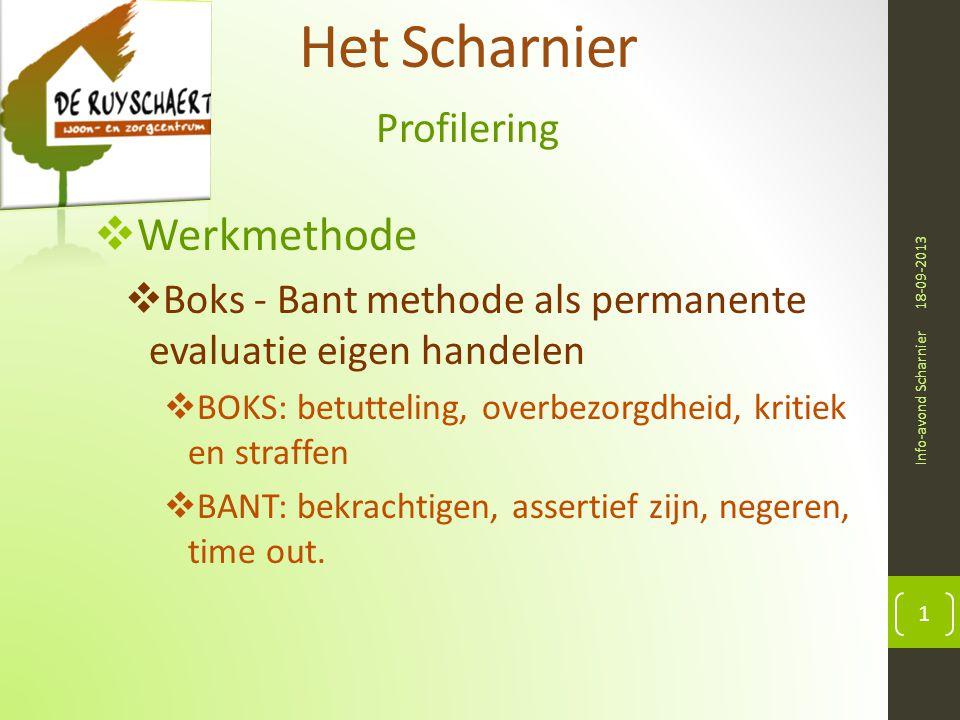 Het Scharnier Profilering 18-09-2013 Info-avond Scharnier 1  Werkmethode  Boks - Bant methode als permanente evaluatie eigen handelen  BOKS: betutteling, overbezorgdheid, kritiek en straffen  BANT: bekrachtigen, assertief zijn, negeren, time out.