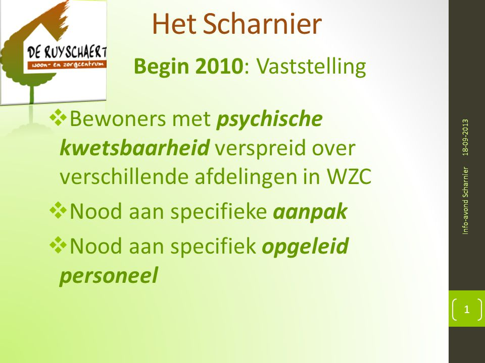 Het Scharnier Begin 2010: Vaststelling 18-09-2013 Info-avond Scharnier 1  Bewoners met psychische kwetsbaarheid verspreid over verschillende afdeling
