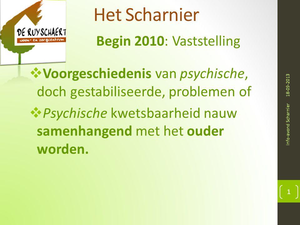 Het Scharnier Begin 2010: Vaststelling 18-09-2013 Info-avond Scharnier 1  Voorgeschiedenis van psychische, doch gestabiliseerde, problemen of  Psychische kwetsbaarheid nauw samenhangend met het ouder worden.
