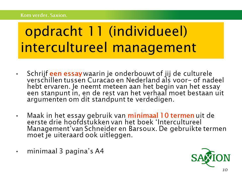 Kom verder. Saxion. 10 opdracht 11 (individueel) intercultureel management •Schrijf een essay waarin je onderbouwt of jij de culturele verschillen tus