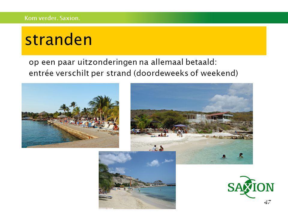 Kom verder. Saxion. 47 stranden op een paar uitzonderingen na allemaal betaald: entrée verschilt per strand (doordeweeks of weekend)