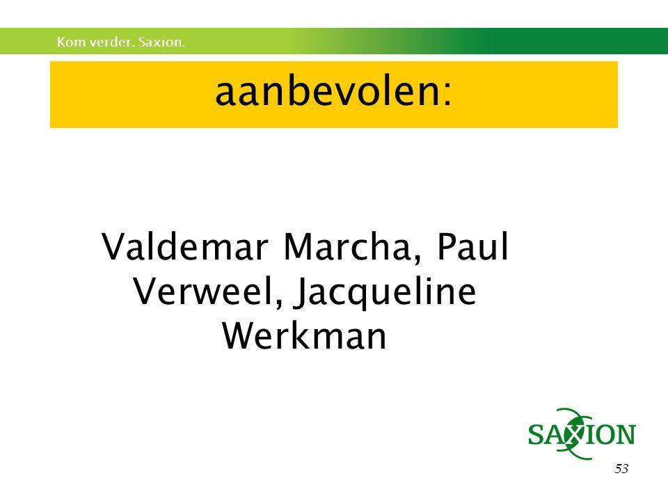 Kom verder. Saxion. 53 aanbevolen: Valdemar Marcha, Paul Verweel, Jacqueline Werkman