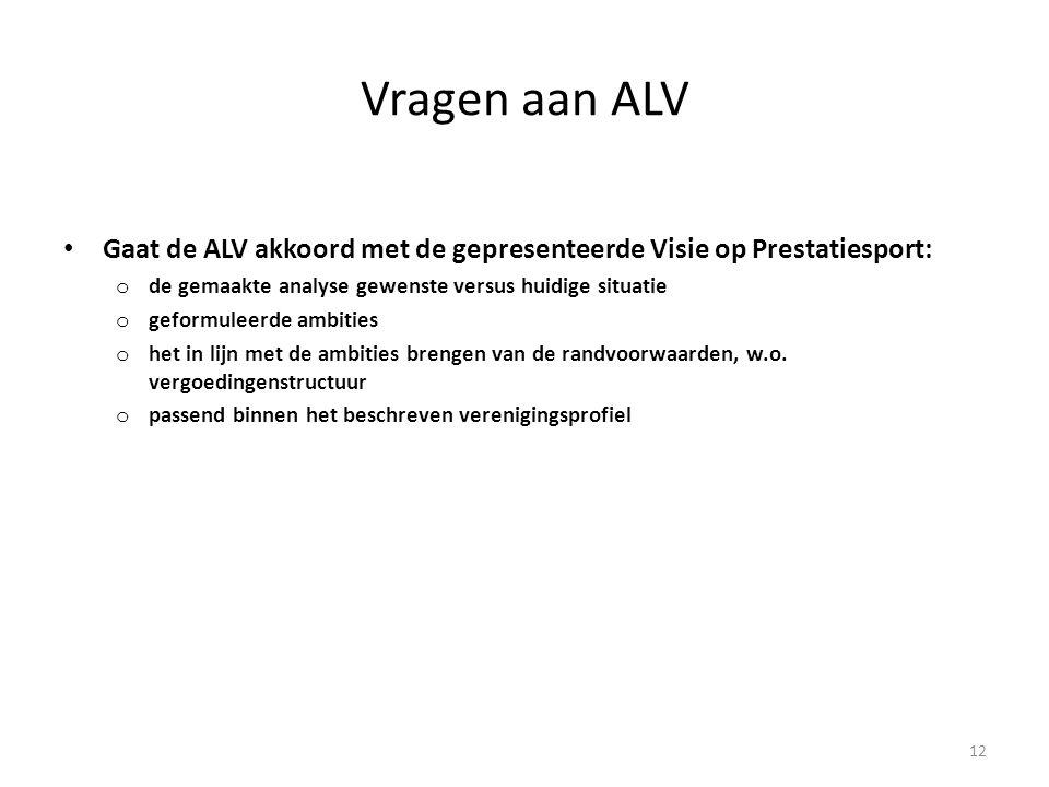 Vragen aan ALV • Gaat de ALV akkoord met de gepresenteerde Visie op Prestatiesport: o de gemaakte analyse gewenste versus huidige situatie o geformule