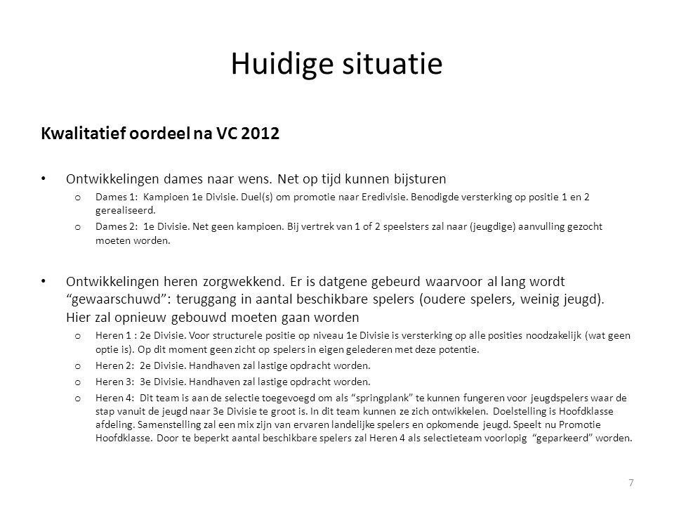 Huidige situatie Kwalitatief oordeel na VC 2012 • Ontwikkelingen jeugd op schema o In de categorie 10-14 jaar sterke ontwikkelingen met nationale titels en goede landelijke toernooiresultaten.