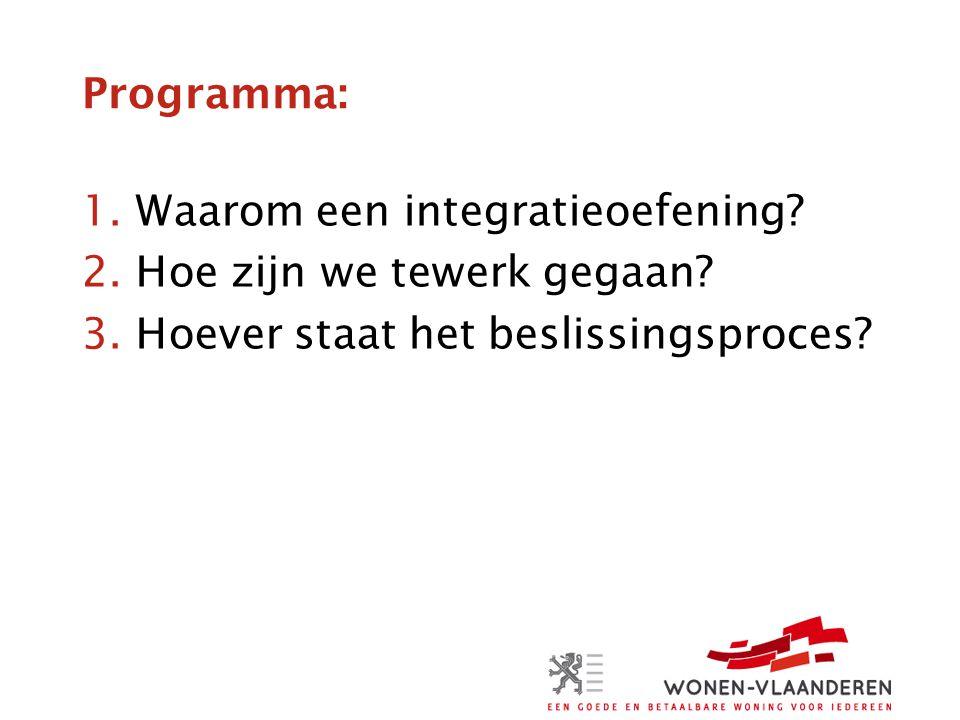 Programma: 1.Waarom een integratieoefening? 2.Hoe zijn we tewerk gegaan? 3.Hoever staat het beslissingsproces?