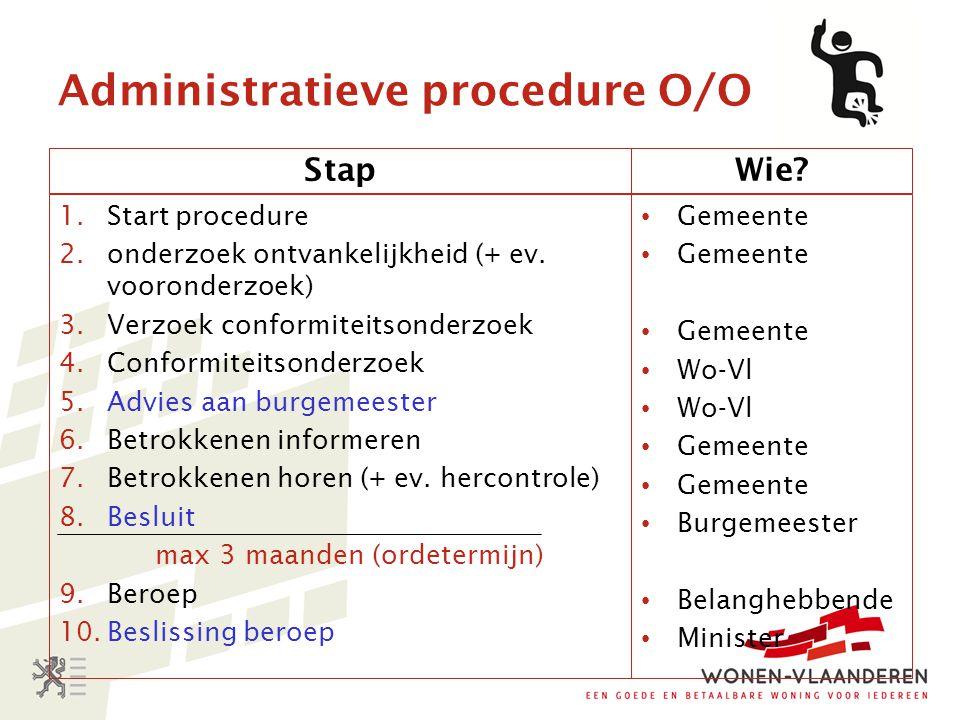 Administratieve procedure O/O Stap 1.Start procedure 2.onderzoek ontvankelijkheid (+ ev. vooronderzoek) 3.Verzoek conformiteitsonderzoek 4.Conformitei