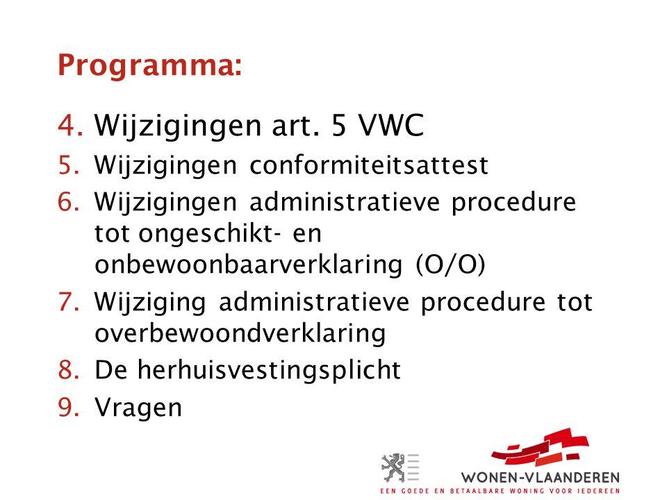 Programma: 4.Wijzigingen art. 5 VWC 5.Wijzigingen conformiteitsattest 6.Wijzigingen administratieve procedure tot ongeschikt- en onbewoonbaarverklarin